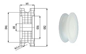 Zabi Nylon Seilrolle d= 52 mm fur Seil 5 mm Kunststoffprofilrollen ...