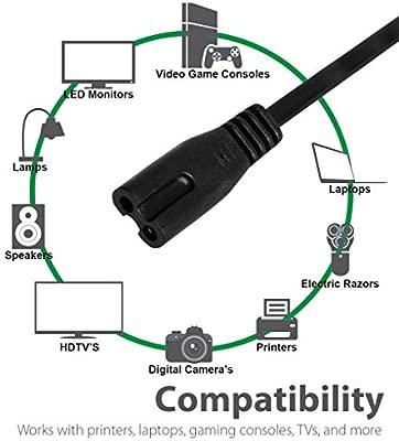 100% Cobre Conexión 2 Polos Cable-Alimentacion-PC-Negro 6FT ...