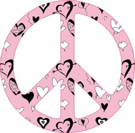 StickerTalk 3in x 3in Heart Patterned Peace Sign Sticker Vinyl Cup Decal Bumper ()