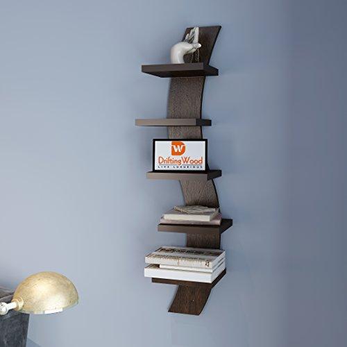 Driftingwood Wall Shelf Rack Curve Shape 5 Tier Wall Shelves   Wenge Texture Laminated
