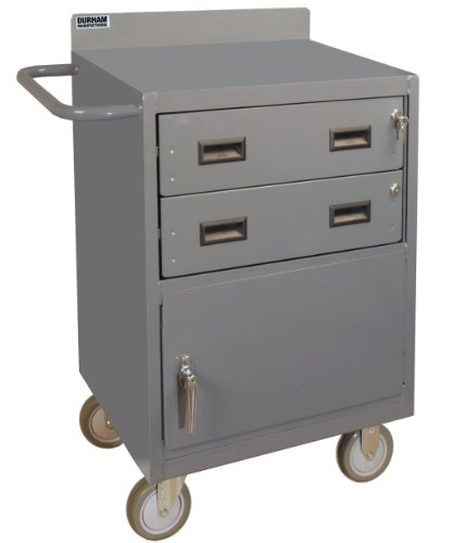 Durham 16 Gauge Welded Steel Mobile Bench Cabinet with 2 Drawers, 2201-95, 1200 lbs Capacity (Trucks Stock Picking)