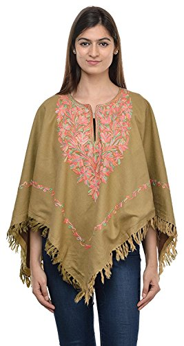 Poncho Le Taille The Cape Chale Manches Tunique Kashmiri Doublure Libre Gallery Style Paisley Manteau Broderie Femmes MadhuSudan tqZvA