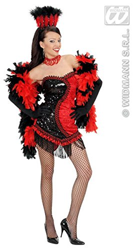 L Ladies Black Red Vegas Showgirl Costume Small UK 810 for 70s Abba Theme Fancy Dress