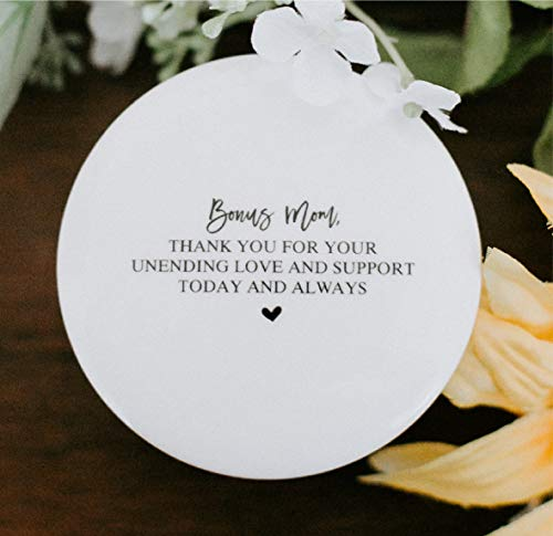 Bonus Mom Step Mother of the Bride or Groom Thank You Gift Idea for Mom from Daughter or Son Ceramic Round 3