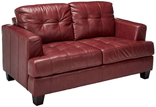(Samuel Leather Loveseat Red)