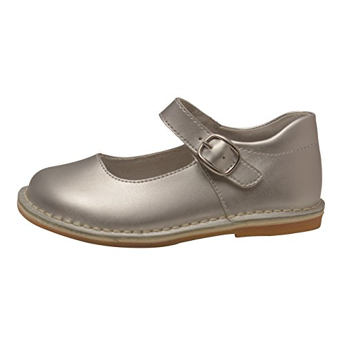 L'Amour Little Girls Silver Classic Matte Leather Mary Jane Shoes 7 Toddler