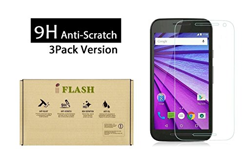 iFlash 3 Pack of Tempered Glass Screen Protector For Motorola Moto G3/XT1541 (MOTO G 3rd Generation 2015) - Transparent Crystal Clear/Scratch Proof/Bubble Free/Oleophobic (3Pack, Retail)