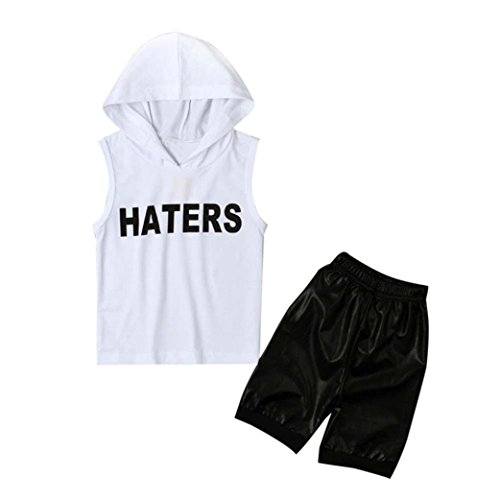 Fabal 2pcs Toddler Kids Baby Boys Tops Hoodie T-shirt+ Shorts Pants Outfit Clothes Set (4/5T, White)