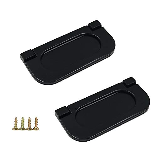 (Mazaashop Flush Pull Ring Handles Stainless Steel Drawer Pulls, Hidden Recessed Furniture Handle for Cabinet Cupboard Drawer Dresser (2 Pack, Black))