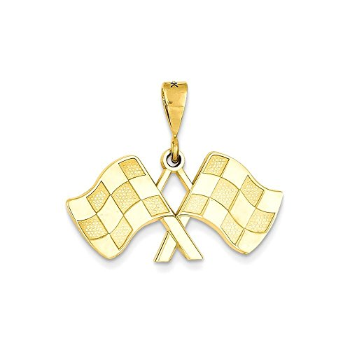 Jewels By Lux 14k Racing Flags Pendant - 14k Racing Flags