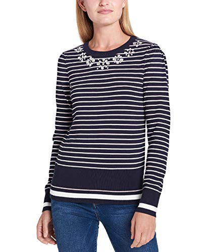 Tommy Hilfiger Embellished Striped Sweater (Sky Captain Multi, XS)