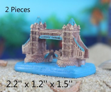 Kimoo 2X Miniature Resin London Tower Bridge Statue Sculpture Aquarium Bookshelf Sandy Psychotherapy Ornament Fish Tank Decoration Reptile Fish