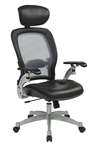 (Office Star  OSP3680 Professional Airgrid Leather Chair, Black and Platinum)
