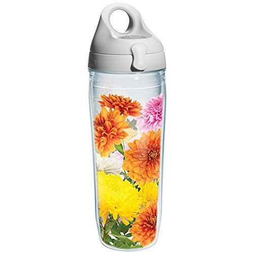 Tervis Chrysanthemums Wrap Water Bottle with Grey Lid, 24-Ounce, Garden Party - Chrysanthemum Wrap