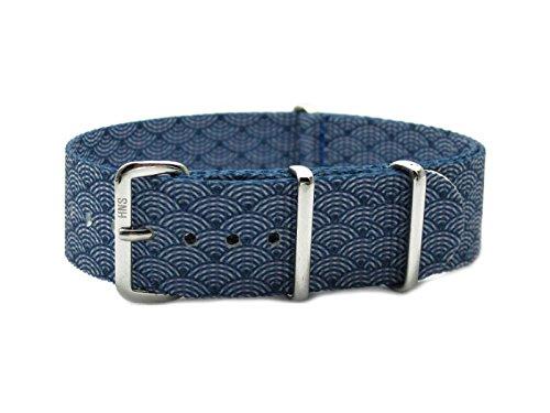 18 Mm Graphic - HNS 18mm G10 Double Graphic Indigo Sashiko Waves Blue Nylon Watch Strap Polished Buckle NT117