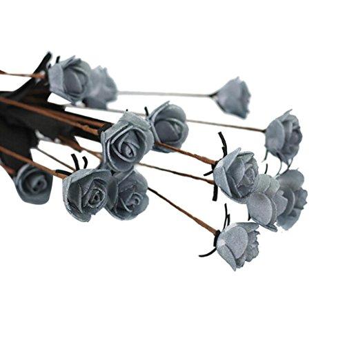 oldeagle Artificial PE Fake Flowers Rose Floral Wedding Bouquet Bridal Hydrangea Decor (Gray)