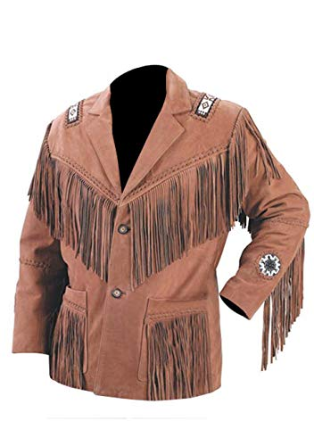 (Men's Western Cowhide Cowboy Leather Jacket Fringe and Beaded & Botton Close Native American Coat Style (XL))