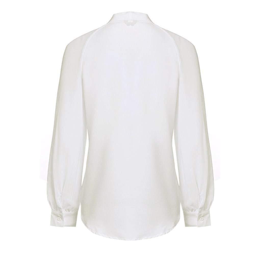 Discount Boutique Camisa de Manga Larga de Oficina para Mujer Corbata de Lazo Camisa Suelta Informal Camisa Blanca Camisa de Trabajo de Negocios Camisa