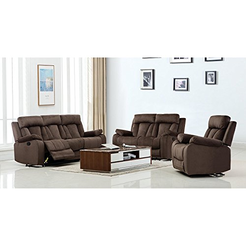 Blackjack Furniture The Elton Collection 3-Piece Reclining Living Room Sofa Set, Brown ()