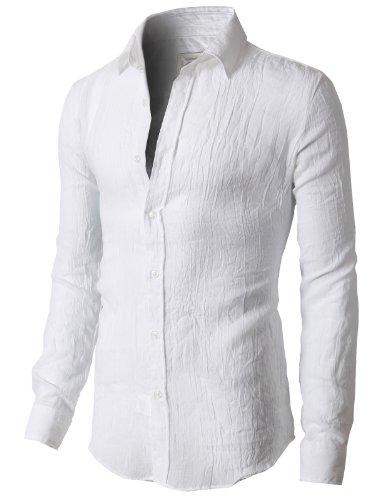 H2H Mens Lightweight Gauze Cotton Button-down Roll-up Sleeve ...