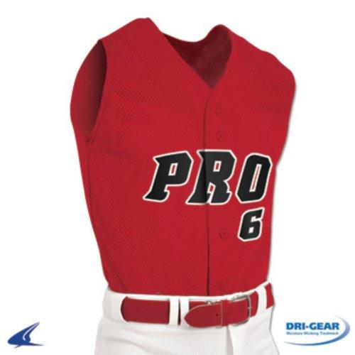 Champro BS6 Pro Mesh Full Button Sleeveless Jersey (Medium, Red)