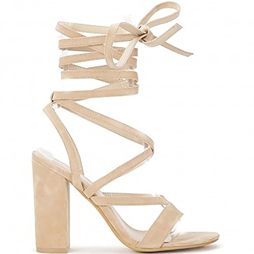 Womens Nude Lace Ups Wrap Round Peep Toes Strappy Sandals High Heels Shoes Nude gPudc13Es
