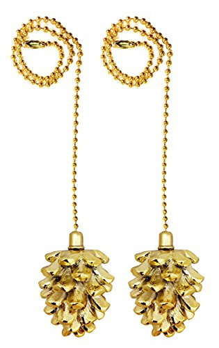 Royal Designs Fan Pull Chain – Pine Cone – Polished Brass – Set of 2 - Pinecone Pull