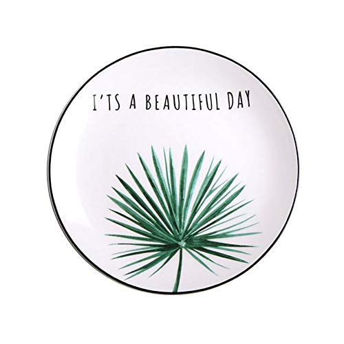 Porcelain Platters/Dinner Plate Set Home Decor,Round Dish,Wedding Birthday Xmas Gift,White and Green,8 Inch (Simple Fan blade) -