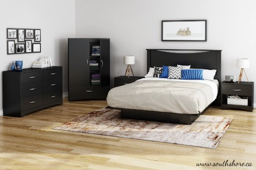 South Shore Step One Collection Full Platform Bed, Pure Black