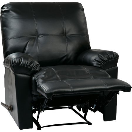 OSP Designs Kensington Faux Leather Recliner in Black by OSP Designs