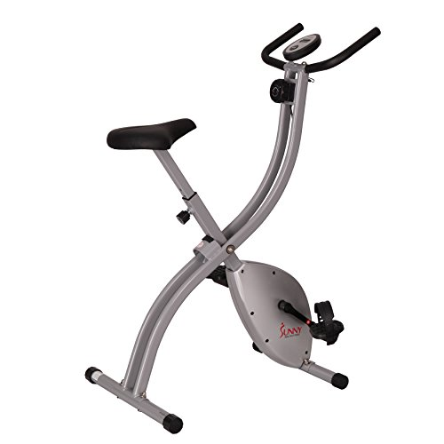 Sunny Health & Fitness SF-B2605 Folding Magnetic Upright Exercise Bike, Grey