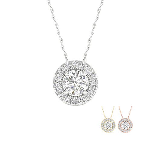 IGI Certified 10k Yellow Gold 1/8ct TDW Round Shape Diamond Halo Necklace ()