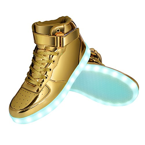 GreatJoy Kids/Adults Cool Gift Light Up LED Shoes/Sneakers 7 Color Flashing Pattern With USB Charger (33EU/1M Little Kid, Gold) (Cool High Tops Shoes)