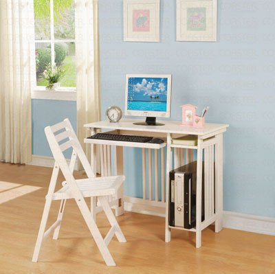 2pc Folding Desk and Chair Set Mission Style in White Finish