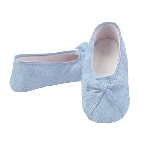 Snoozies Womens Cozy Non Skid Laced Up Ballet Slipper Socks - Blue, Extra-Large