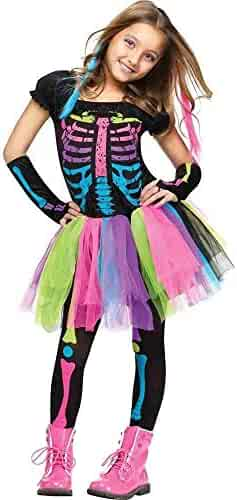 Fun World Funky Punky Bones Costume, Medium 8 - 10, Multicolor