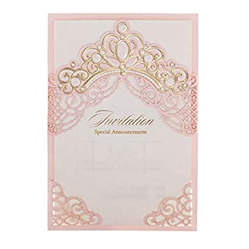 image about Printable Princess Invitations named 「Princess Dream」WISHMADE 100 Crimson Laser Slash Classy Marriage Invitations with Crown Style and design,