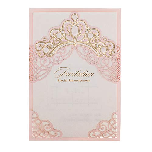 「Princess Dream」WISHMADE 100 Pink Laser Cut Elegant Wedding Invites with Crown Design, Printable Invitations Sleeve with envelopes for Quinceanera Birthday Party Engagement Bridal Baby Shower