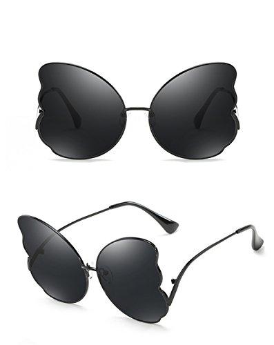 Lente Marcos de para de Marcos mujer mujeres Gris sol gafas de de de viaje moda verano bordeadas de elegantes Mariposa metálicos Negro ocasionales Gafas para sol 4dq0Hx4Z