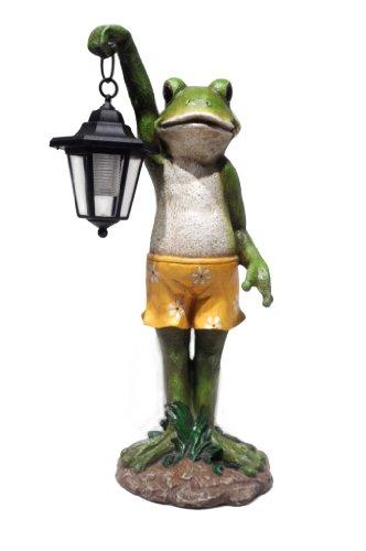 HomeView Design Garden Statue Holding Solar Lantern (Outdoor Frog Statues)
