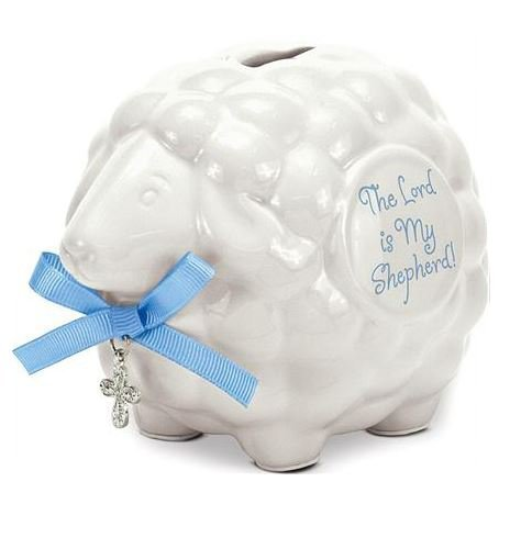Ceramic Baby Lamb Bank with Blue Boy Scripture - The Lord Is My Shepherd Brownlow Gifts