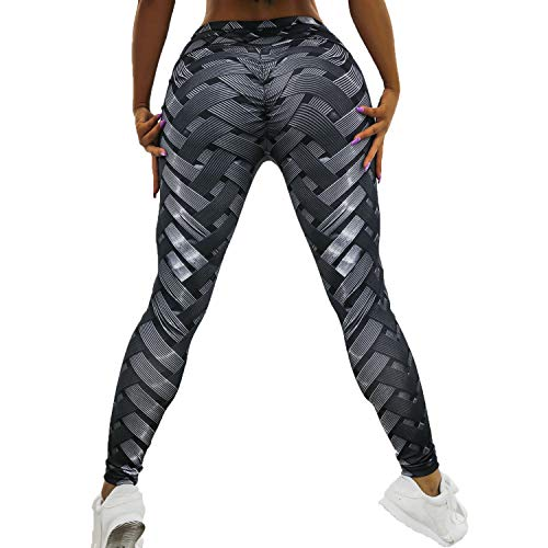 (FITTOO Hight Waisted Printed Leggings Sexy Gym Fitness Yoga Pants for Women (Knitting Print, L))
