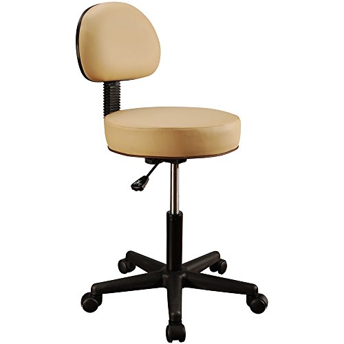 Master Massage Pneumatic Hydrolic Rolling Massage Clinical Spa Tattoo Office Swivel Stool with Backrest, Beige
