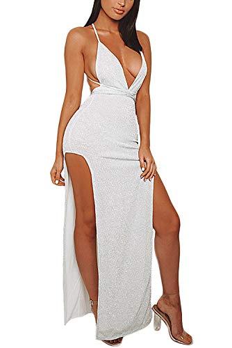 - Velius Women's Sexy Spaghetti Strap V Neck High Slit Backless Party Wrap Maxi Dress (Large, Silver #2)