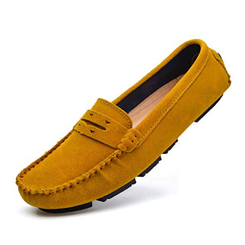 Driving Shoes for Women Suede Flat Loafers Bass Shoes Camel W9188/Tuo-US9