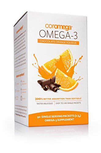 Orange Coromega Flavor - Coromega Omega-3 Supplement, Orange Flavor with a Hint of Chocolate, 90 Packets (2.5 g) by Coromega