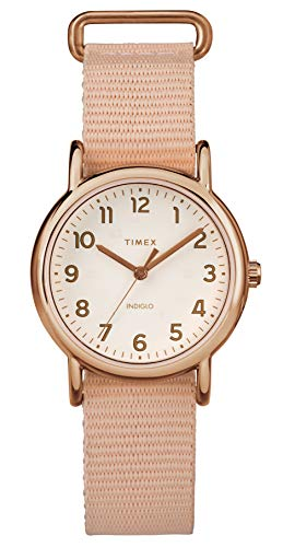 Timex Ladies Weekender Cream Dial with a Pink Nylon Strap Watch TW2R59900
