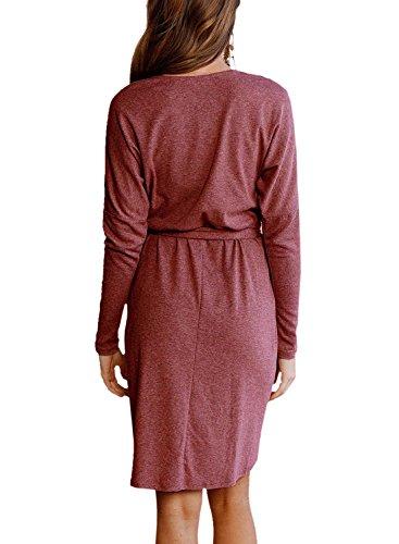 Young17 Occasionnels Pull Femme Lâche Fente Wrap Manches Longues Mini Robe Avec Ceinture Marron