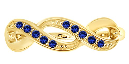 Simulated Blue Sapphire Swirl Ring in 14k Yellow Gold Over Sterling Silver (0.05 Cttw) Yellow Gold Swirl Ring