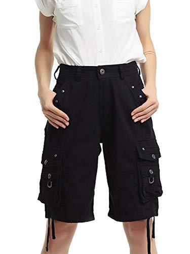 (Gooket Women's Cotton Casual Loose Straight Leg Multi Pockets Twill Bermuda Cargo Shorts Black Tag XL)